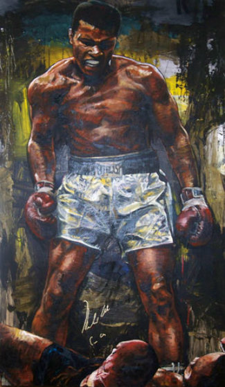 Muhammad Ali Over Sonny Liston 56x52 Original Painting by Stephen Holland