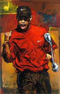 Tiger Woods - The Shot 2005 Embellished,   HS Tiger   Limited Edition Print - Stephen Holland