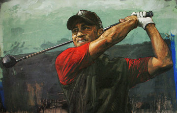 Tiger Woods  Tee Off AP 2006 HS Tiger Embellished  Limited Edition Print - Stephen Holland