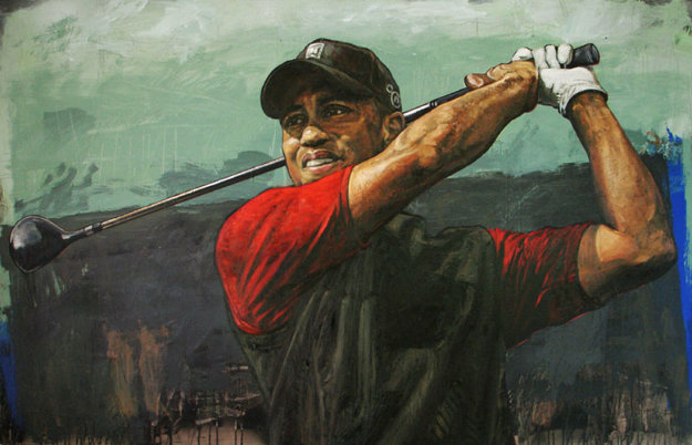 Tiger Woods  Tee Off AP 2006 HS Tiger Embellished  Limited Edition Print by Stephen Holland