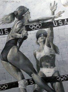 Women's Volleyball 1992 48x36 Huge Original Painting - Stephen Holland