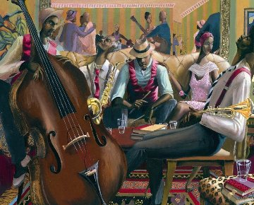 Jazz Lounge 1998 24x30 Original Painting - John Holyfield