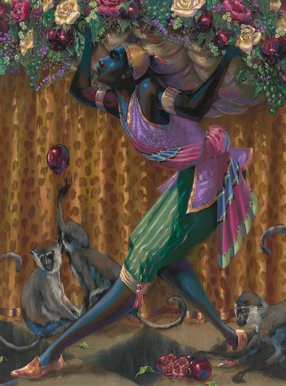 Blackamoor With Monkeys 2015 40x30 Original Painting by John Holyfield