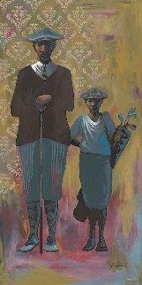 Vintage Golfers - Male 2015 48x24 Original Painting - John Holyfield
