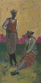 Relaxing on the Green 2015 48x24 Super Huge Original Painting - John Holyfield