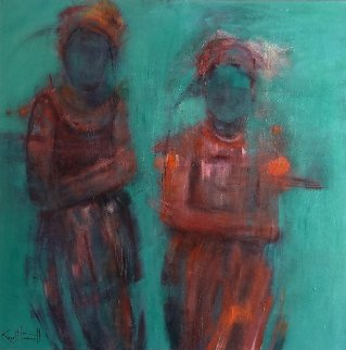Sisters 2015 36x36 Original Painting - Karol Honeycutt