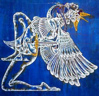 Greek Myth Series: Leda and Swan II 2020 40x40 Original Painting - Lu Hong