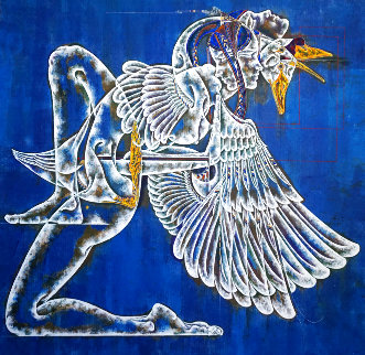 Greek Myth Series: Leda and Swan II 2020 40x40  Original Painting - Lu Hong