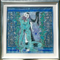 Maid and Death 1990 52x52 Super Huge Original Painting by Lu Hong - 2