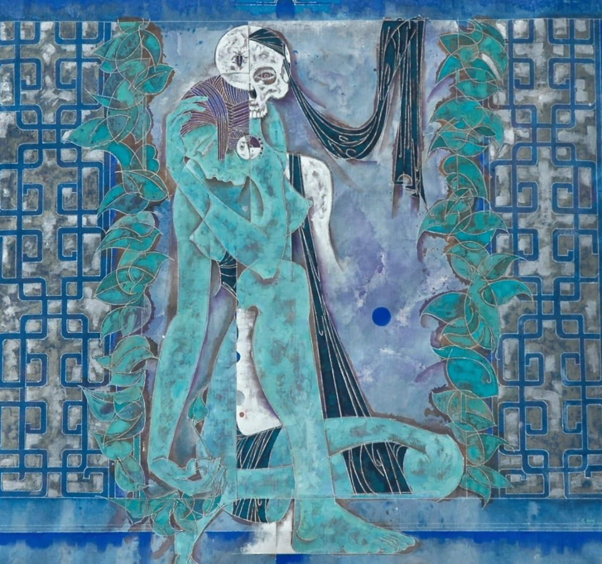 Maid and Death 1990 52x52 Super Huge Original Painting by Lu Hong