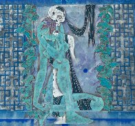 Maid and Death 1990 52x52 Super Huge Original Painting by Lu Hong - 0