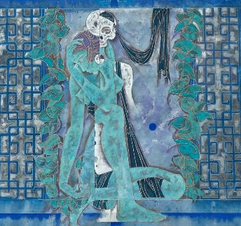 Maid and Death 1990 52x52 Super Huge Original Painting - Lu Hong