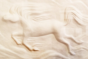 Horse Cast Paper Sculpture  43x58 Limited Edition Print by Rance Hood