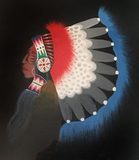 Comanche Chief 1972 9x7 Original Painting by Rance Hood