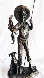 Gone Fishin Bronze Sculpture 1990 10 in Sculpture - Mark Hopkins