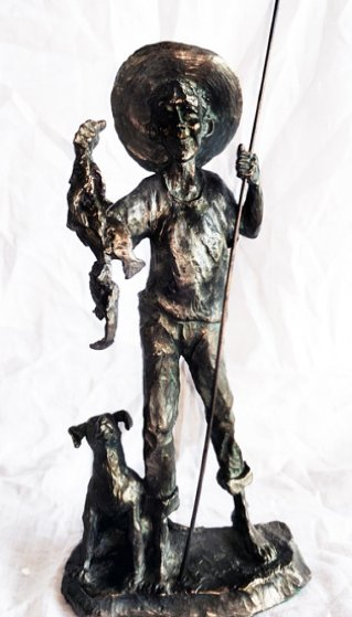 Gone Fishin Bronze Sculpture 1990 10 in Sculpture by Mark Hopkins