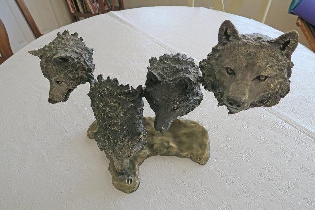 Survival Bronze Sculpture 1995 15 in Sculpture by Mark Hopkins
