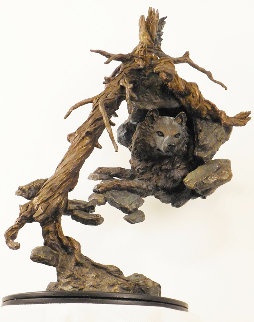 Timber Wolf Bronze Sculpture 24 in Sculpture by Mark Hopkins