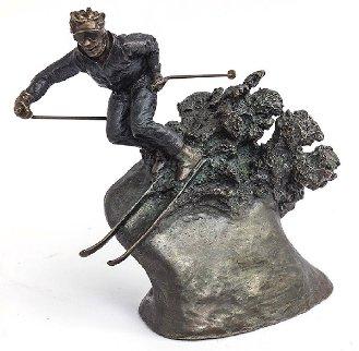 Skier Bronze Sculpture 9 in Sculpture - Mark Hopkins