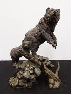 Mom And Baby Bear Bronze Sculpture 1996 14 in Sculpture - Mark Hopkins