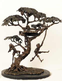 Treehouse Bronze Sculpture 1990 17 in Sculpture by Mark Hopkins