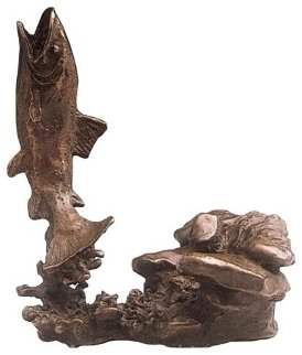 Hooked and Trout,  Set of Two Bronze Sculptures 1989 8 in Sculpture - Mark Hopkins