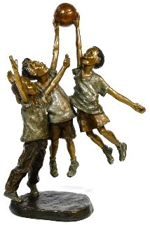Shooting Hoops Bronze Sculpture 2001 15 in Sculpture - Mark Hopkins