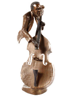 Jazz Suite: Jazz Bass Bronze Sculpture 1992 15 in Sculpture - Mark Hopkins
