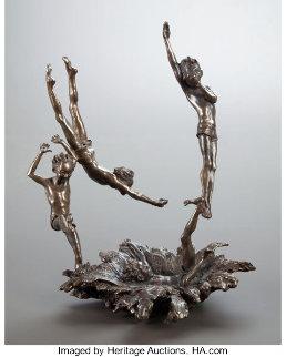 Last One In  Bronze Sculpture 12 in  Sculpture - Mark Hopkins