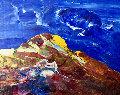 Blue Sky - Volcano 2007 17x23 Original Painting - Anthony Hopkins