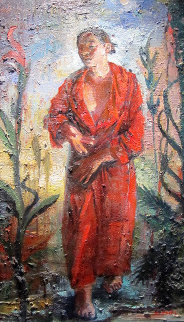 Somnambulist (Red Robe) 2003 40x22 Original Painting - Tom Hopkins