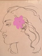 Pink Hibiscus Drawing 1977 10x12 (Early) Original Painting by Pegge Hopper - 0