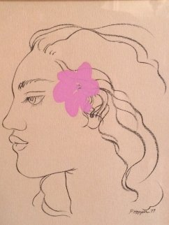Pink Hibiscus Drawing 1977 7x5 Original Painting by Pegge Hopper