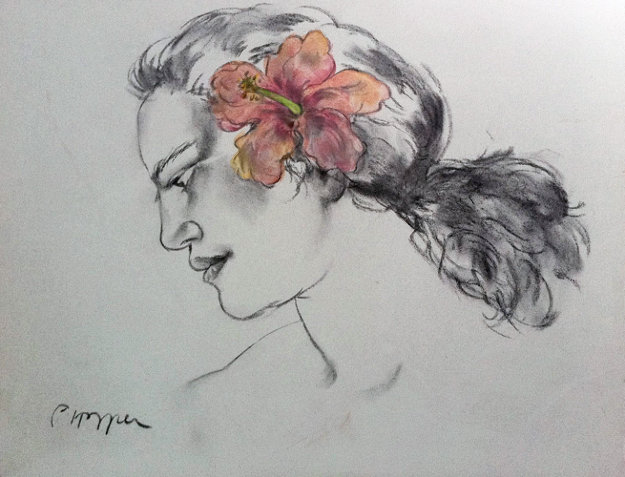 Pink Hibiscus Drawing 2002 Original Painting by Pegge Hopper