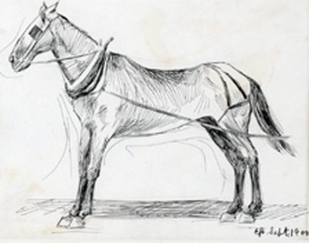 Working Horse 1990 15x16 Drawing by Edward Hopper