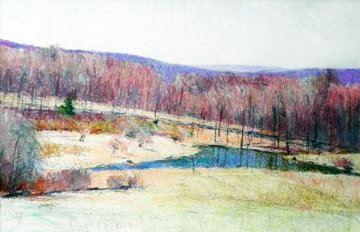 Untitled Landscape 1986 24x40 Super Huge  Original Painting - Larry Horowitz