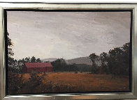 Sepia Barn, New Hampshire 41x29 Super Huge Original Painting by Larry Horowitz - 1