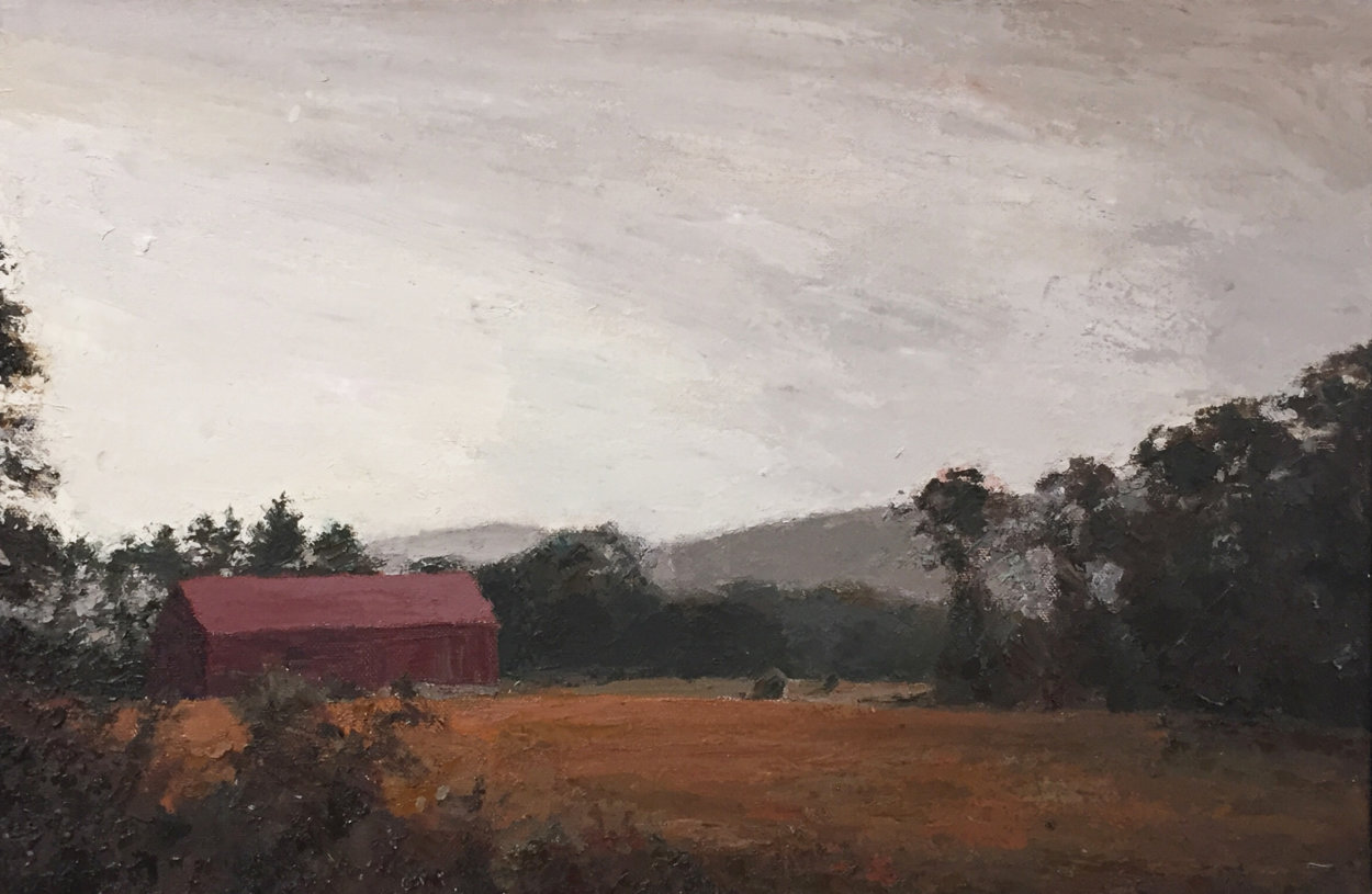 Sepia Barn, New Hampshire 41x29 Super Huge Original Painting by Larry Horowitz