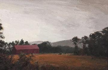 Sepia Barn, New Hampshire 41x29 Super Huge Original Painting - Larry Horowitz