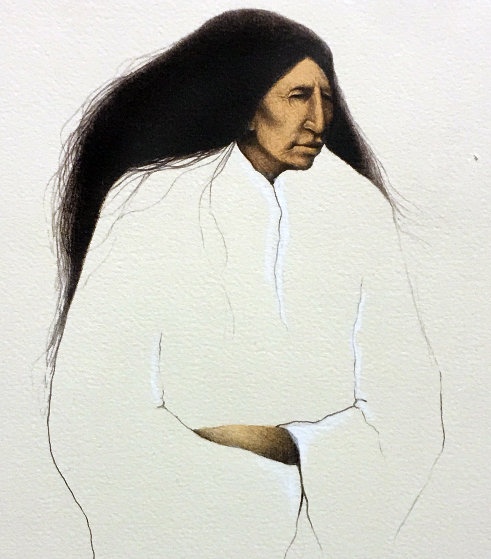 A Cheyenne Woman Waiting 1986 Limited Edition Print by Frank Howell