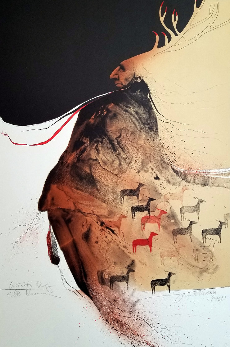 Elk Dreamer AP 1980 Limited Edition Print by Frank Howell