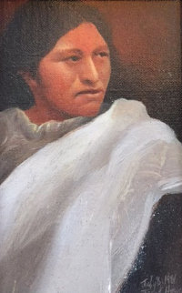 Navajo Maiden 1981 13x11 Original Painting by Frank Howell