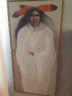 Red Feathers 48x24 Super Huge Original Painting by Frank Howell - 3