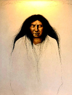 Crow Woman 1986 42x32 Huge Original Painting - Frank Howell