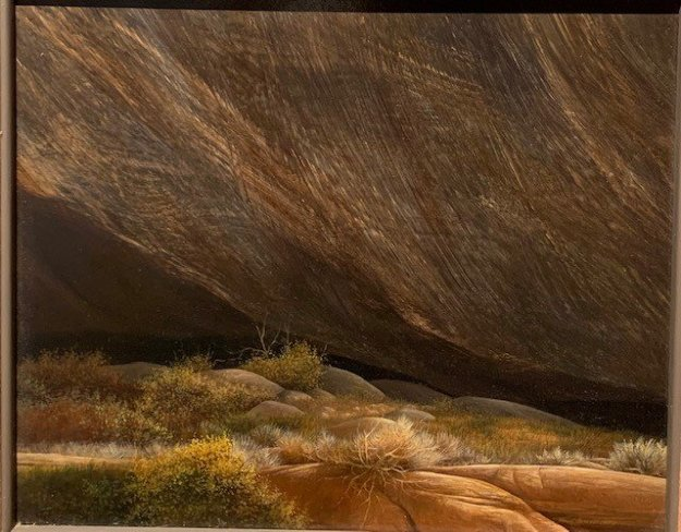 Canyon Wall 1978 19x18 on Panel Original Painting by Frank Howell