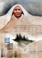 Lakota Summer, New Morning Watercolor  1982 27x22 (Early) Watercolor by Frank Howell - 0