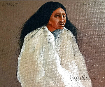 Hidatsa Woman on Wood 1985 10x12 Original Painting - Frank Howell