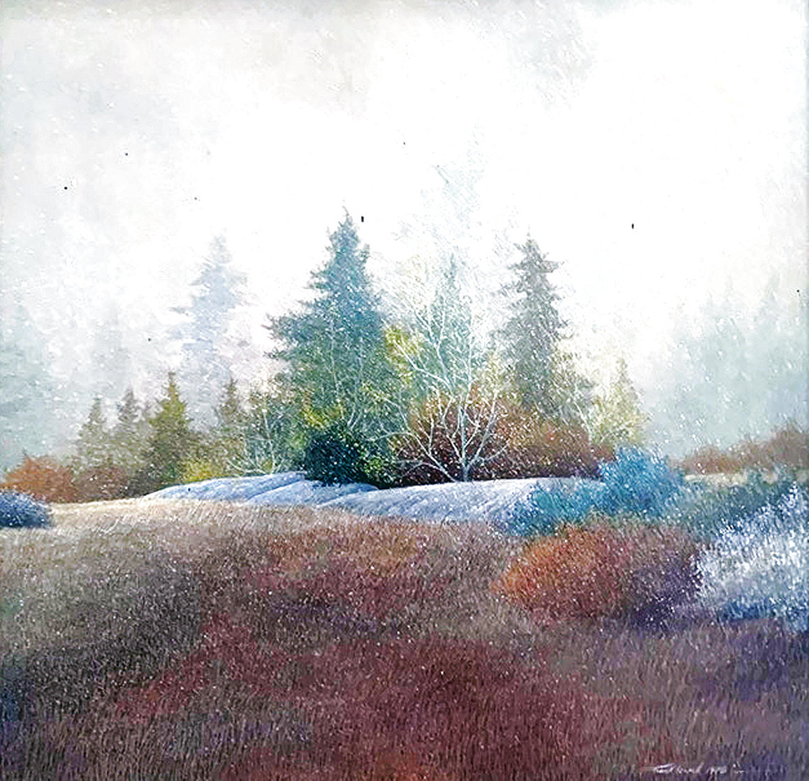 First Snow 1978 17x17 Original Painting by Frank Howell