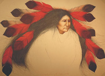Red Feather Dancing 1986 28x38 Super Huge  Limited Edition Print - Frank Howell