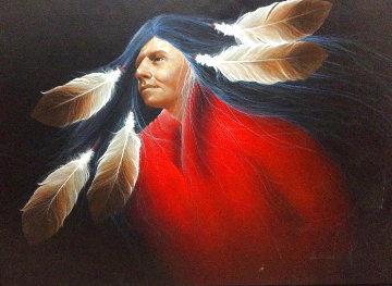 Pueblo Dancer 1998 28x40 Huge Original Painting - Frank Howell